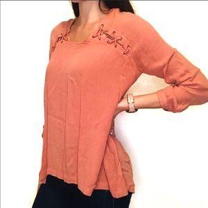 Free People Orange Corset Shoulder Blouse
